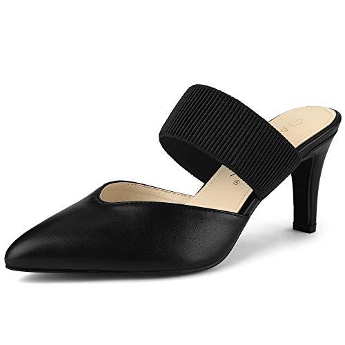 Allegra K Women's Pointed Toe Elastic Strap Stiletto Heels Black Mules - 7 M US