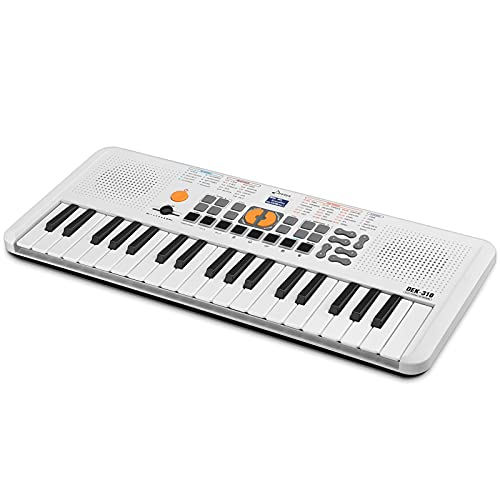 Donner Mini Tastiera Musicale di Pianoforte Elettronica Pianola 37 Tasto, Tastiera Digitale Elettronico Portatile con Tasto Sensibile al Tocco e 5 Drum Pads, DEK-310 (Bianco)