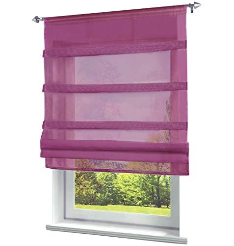 BAILEY JO Pack de 1 visillo con cordón, gasa transparente, 60 x 140 cm, color morado