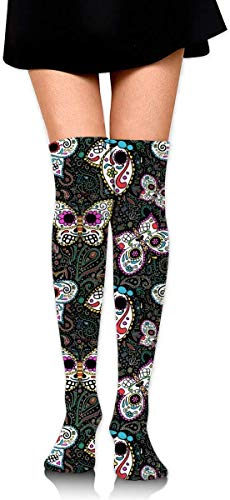 vcbndfcjnd Tiny Butterfly Sugar Skulls Women Girls Funny Knee High Socks Novelty Crew Socks Boot Socks Trainer Socks