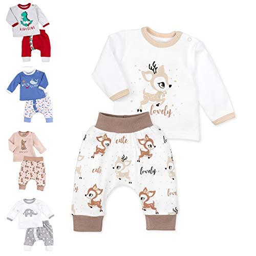 Baby Sweets Unisex 2er Baby-Set mit Hose & Shirt für Mädchen & Jungen/Baby-Erstausstattung in Braun & Beige im REH-Motiv/Baby-Kleidung aus Baumwolle in Größe: 3 Monate (62)