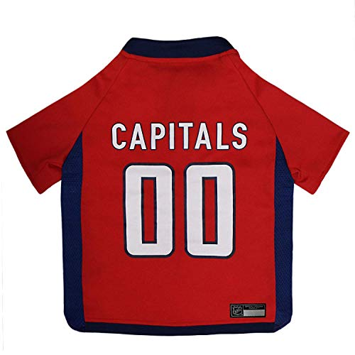 NHL Washington Capitals Jersey for Dogs & Cats, Medium. - Let Your Pet be a Real NHL Fan!