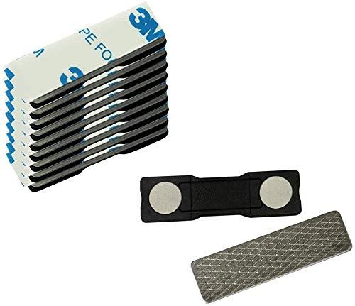 10 starke 2-Fach Magnete mit Metall Plättchen selbstklebend 3M Neodym Magnet Namensschild für Kleidung Metallplättchen Ausweishüllen Beschriften Whiteboard Namensschildchen Kühlschrank basteln
