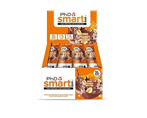 PhD Smart Bars, Pack de Barritas Altas en Proteínas Bajas en Carbohidratos con Delicioso Sabor de Caramelo y Chocolate Negro (Caja de 12 x 64g)