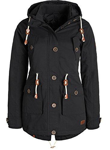 Blend SHE Constance Damen Winter Jacke Parka Mantel Winterjacke gefüttert mit Kapuze, Größe:L, Farbe:Black (70155)