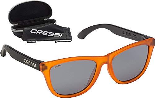 Cressi Leblon Sunglasses Gafas de Sol Deportivas con Estuche Rígido, Adultos Unisex, Naranja/Negro-Lentes Ahumadas, Un Tamaño