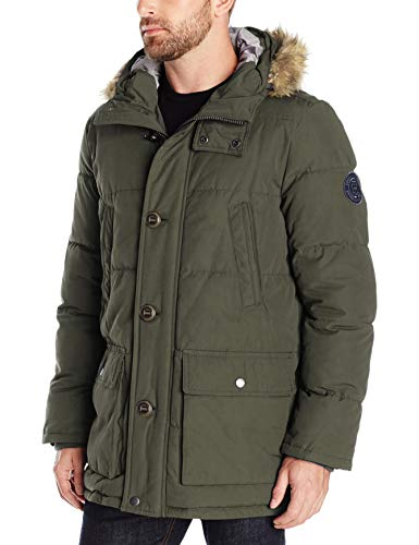 Tommy Hilfiger Herren Arctic Cloth Full Length Quilted Snorkel Jacket Daunenalternative, Mantel, Dunkler Wald, 4X