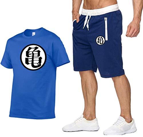 Dragon Ball Goku Chándal Hombres Casual Camiseta de Manga Corta y Joggers Shorts Gimnasio Running Workout Ropa Deportiva 2 Piezas Set