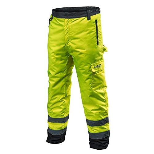 NEO TOOLS Profi Thermo Warnschutzhose EN 20471 Warnhose orange gelb Arbeitshose Warnschutz Sicherheitshose XL Neongelb