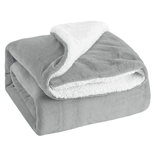 MERCURY TEXTIL-Manta para sofá, Cama, Sillón, Reversible de Borreguito y Franela Suave, 100% Poliéster. Disponible 130x160cm (Gris)