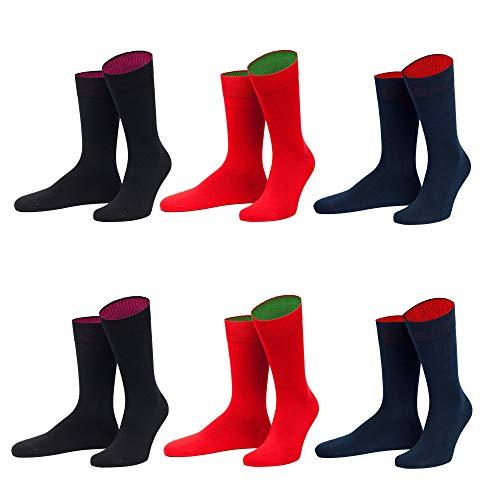 von Jungfeld - Herren Socken / Strumpf Herrensocken 6er-Pack gemischte Farben (schwarz,marine, rot, numeric_39)