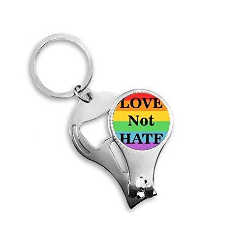Arco iris Gay lésbico LGBT transgénero bisexuals apoyo amor no odio bandera ilustración Metal clave cadena anillo multifunción Nail Clippers abrebotellas llavero de coche mejor encanto regalo
