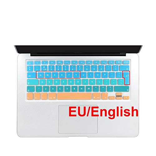 Easy to use Euro Spanish English Russia water Dust proof keyboard cover for macbook Old air 13 protector change colors Retina 13 15 CD ROM Keybaord Skin Protector (Color : EU English Blue)