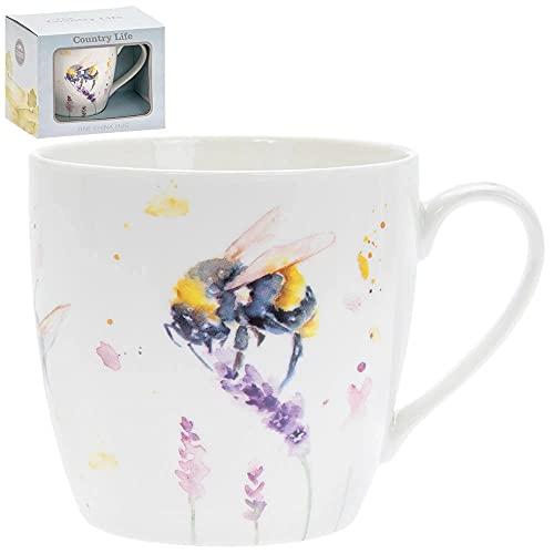 Lesser & Pavey Country Life Tasse mit Hummel- und Lavendel-Design, schöne künstlerische Tasse aus der Serie Country Life – Lieferung in Geschenkbox