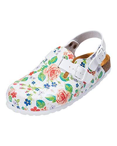 CLINIC DRESS - Clog für Damen mit Blumendruck Bunt weiß/bunt, Motiv Blumen 38