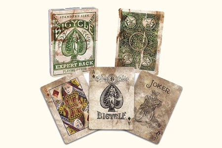 Bicycle Distressed Expert Back Green Playing Cards by US Playing Card Company