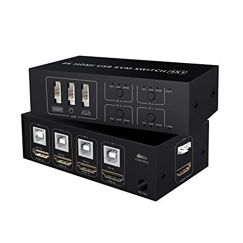 Conmutador KVM Switch HDMI 4 puertos, 4K @60Hz 4 en 1 salida Caja de conmutador USB KVM para 4 PC, teclado, ratón, monitor, compatible con computadora portátil, PC, PS4, Xbox HDTV