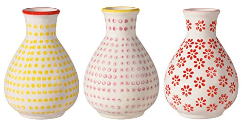 Bloomingville Vase Susie, rot rosa gelb, Keramik, 3er Set