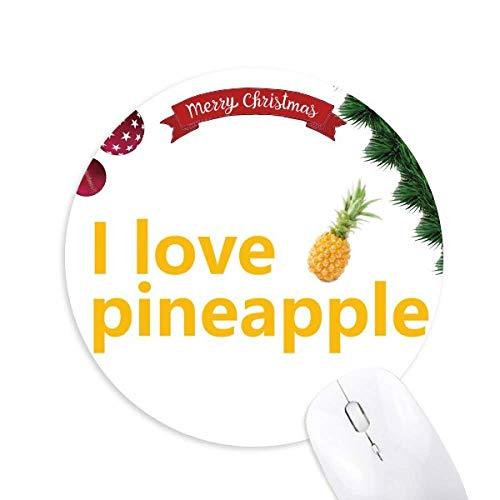 Ich liebe Obst Ananas runden Gummi Maus Pad Weihnachtsbaum Mat