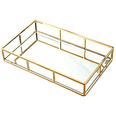 PuTwo Metal Mirrored Ornate Decorative Tray Jewelry Tray 12'' x 8'' - Champagne Gold Finish