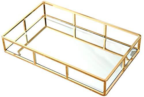 PuTwo Spiegeltablett Gold, Vintage Spiegel Tablett Metall Tablett Verspiegelt Platte Verspiegelt Deko Tablett Spiegel Tablett Rechteckig, Dekotablett als Schminktisch Aufbewahrung - Tablett Gold
