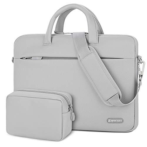 BRINCH Laptop Shoulder Bag 15.6 Inch Water Resistant Laptop Case Portable Leather Messenger Bag Protective Sleeve Cover for Laptop, Tablet, MacBook, Business/College/Women/Men,Gray