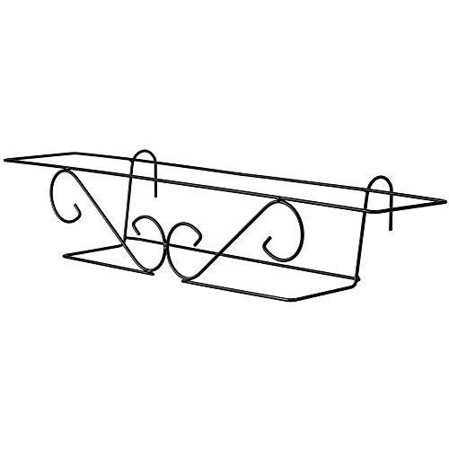 KADAX Blumentopfhalter, hängend, für Geländer, Balkon, Terrasse, Blumenkasten, Innen und Außen, Pflanzenhalterung aus Stahl, Blumenkastenhalter mit Haken, schwarz (L, abgerundet)