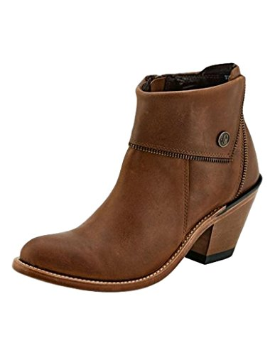 Old West Tan Womens Leather Zipper Ankle Boots 5M