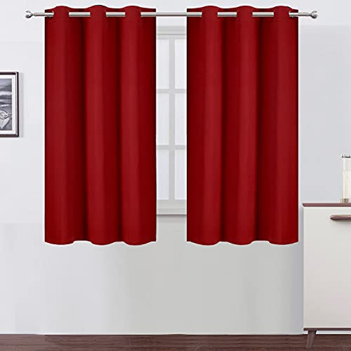 LEMOMO Red Thermal Blackout Curtains/38 x 54 Inch/Set of 2 Panels Room Darkening Curtains for Bedroom