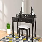 Vanity Table Set with Mirror Stool, MakeupTable Cushioned Stool 360 Degrees Rotating Mirror 5 Drawers Movable Organizers Dressing Vanity Set Wood Desk Seat for Bedroom (Black)
