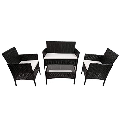 Famyfamy 4 PCS Rattan Furniture Set, Rattan Sofa Chairs, Rattan Table with Tempered Glass Table, for Outdoor Garden Patio Indoor Conservatory Black