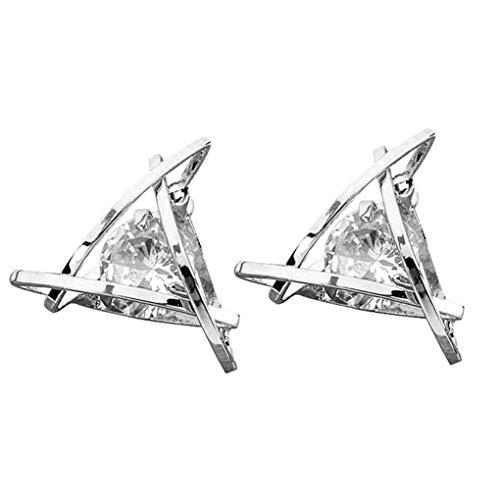 Boburyl Las Mujeres Señora geométrica del Rhinestone cristalino del Perno Prisionero del oído Pendientes de Clip de Oro Muchacha Pin Plateado joyería