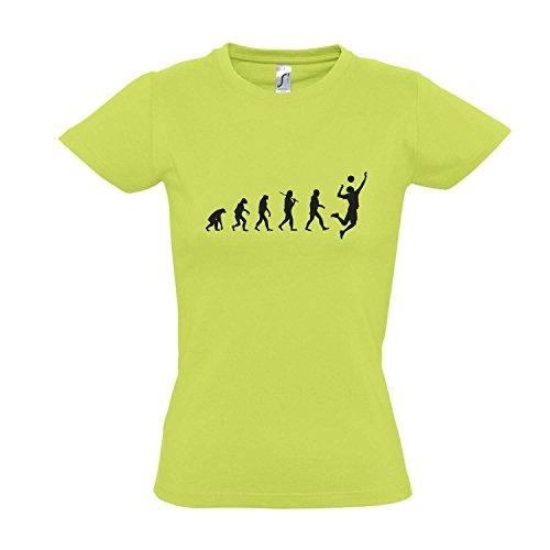 Damen T-Shirt - Evolution - Volleyball Sport Fun Kult Shirt S-XXL, Apple Green - schwarz, S