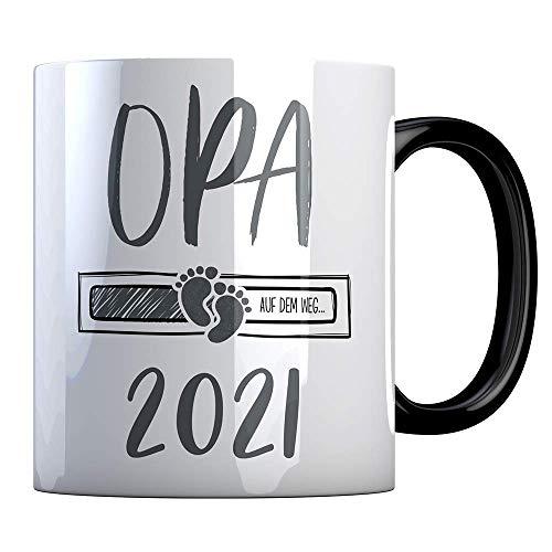 Tassenbude Kaffee-Tasse Opa 2021 loading Geschenk-Idee für werdende Opas Schwangerschaft Geburt Baby beidseitig bedruckt schwarz spülmaschinenfest
