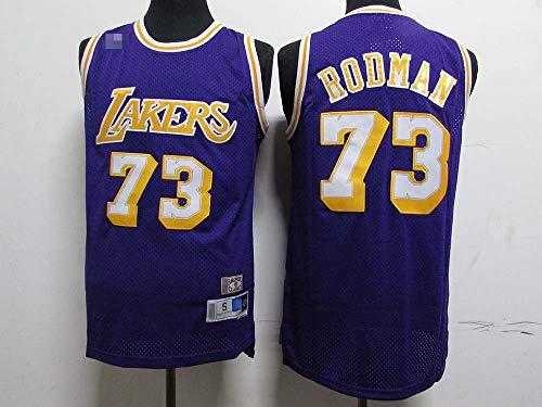 Jerseys De Baloncesto para Hombre, NBA Los Angeles Lakers # 73 Dennis Rodman, Camiseta Clásica De Ropa Sin Mangas Sin Mangas, Tops De Uniformes De Tela Confort,Púrpura,M(170~175CM)