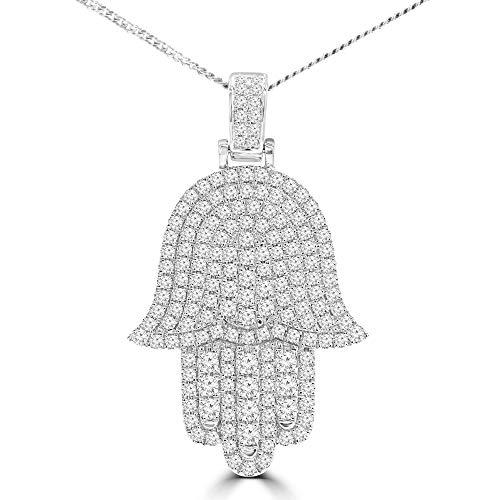 1 1/5 CTW Round Diamond Hamza Fancy Pendant Necklace in 18K White Gold (MD210051)