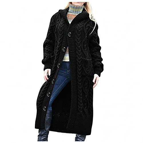 Hemlock Women Long Sweaters Coat Buttons Hooded Jackets Thick Knit Sweater Cardigans Tops Fall Outwear Black