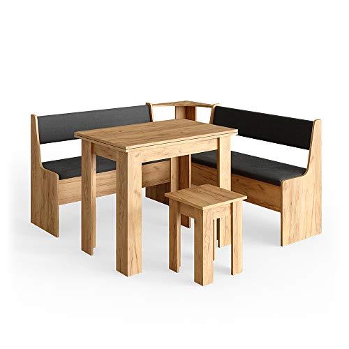 Vicco Eckbankgruppe Roman Esszimmergruppe Eckbank Sitzgruppe Tisch Hocker (GoldCraft Eiche, 150x150cm)