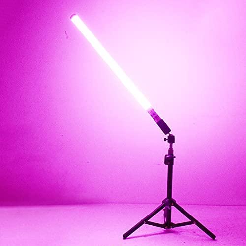 JDKC- Tubo de Luz de Colores LED RGB con Trípodes O Soporte Globoide, Luz de Fotografía de Mano RGB, 12 Colores, con Mando a Distancia, Batería Recargable, para Video, Retratos