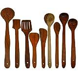 VintFlea Set esencial de cuchara multiusos para servir y cocinar para espátulas antiadherentes hechas a mano de madera para servir y cocinar utensilios de cocina, juego de 9