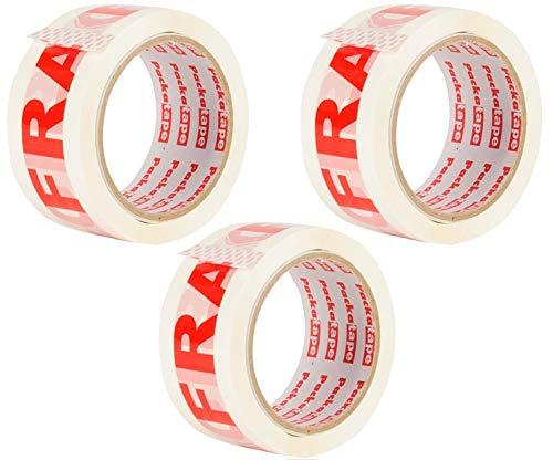 Packatape | Fragile Paketklebeband | 66m lang & 48mm breit | Ideal als Glas Klebeband zerbrechlich, Vorsicht Glas Paketband, Verpackungsmaterial & Achtung Packband Vorsicht | 3 Rollen