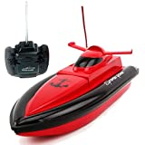 JIU SI Hochgeschwindigkeits-RC-Boot-Fernbedienungsrennen-Boot 4-Kanäle für Pools, Seen und Outdoor-Abenteuer (nur Arbeiten im Wasser) (Farbe : Rot)