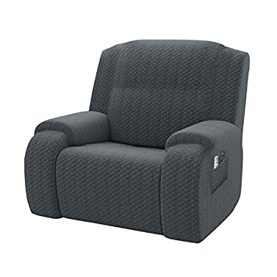 MAXIJIN Newest Recliner Slipcovers for Living Room 4 Pieces Stretch Jacquard Recliner Chair Cover Soft Fitted Recliner Protector with Elastic Bottom for Kids, Pets (Recliner, Dark Gray)