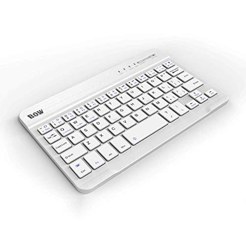 OUKB Tragbare Bluetooth-Tastatur Apple-Android-Telefon ultradünne Mini-Tablett-Externe aufladende drahtlose Tastatur (Farbe : 10 inch Ivory White)