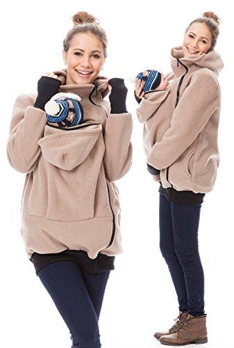 GoFuture Babytragejacke Viva für Mama, Papa und Baby Bequeme Känguru Tragejacke aus Fleece in Varianten Klassiker und 4in1 Jacke mit Baby und Schwangerschaftseinsatz (XL, Beige)