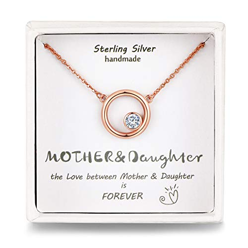 Qings Mum Daughter Dainty Necklace Sterling Silver Rose Gold Circle Crystal Necklace Birthday Gift for Women