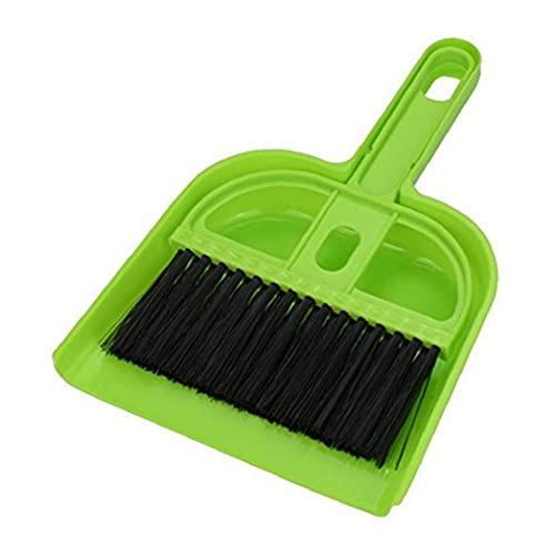 Sanfiyya Limpieza Mascotas Escoba recogedor Conjunto plástico Mini Cepillo recogedor Sweeper para Pequeños Animales Mascotas Perros Gatos Aves casa Limpia Verde
