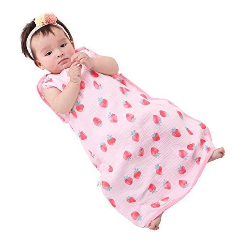 Saco de Dormir para Bebé Fresa patrón suave cómodo del sueño del bebé del bolso con mangas desmontables bebé que duerme bolsa o saco Saco de Dormir para Niños Pequeños ( Color : Pink , Size : S )