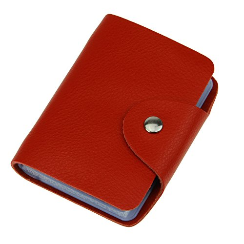 Liying Kreditkartenetui Kartenmappe Kartenetui Geldbeutel Karten Tasche Karten Mappe Kartenhalter Mit 26 Kartenfächer Leder Rot