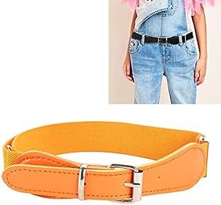 Clothing Accessories 2 PCS Kids Polyester + PU Leather Square Pin Buckle Adjustable Elastic Belt, Length:65cm(Black) (Color : Orange)